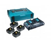 Комплект аккумулятор 18.0 В BL1860B 4 шт. + зарядное устройство DC18RC в кейсе (Набор BL1860B 18V 6,0 Ah 4 шт. + DC18RD) (MAKITA) (198094-8)