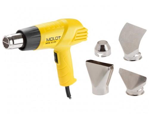 Термовоздуходувка MOLOT MHG 5120 в кор. + набор сопл (2000 Вт, 2 скор., 350-550 °С, ступенч. рег.,350-550 °С) (MHG5120K0022)