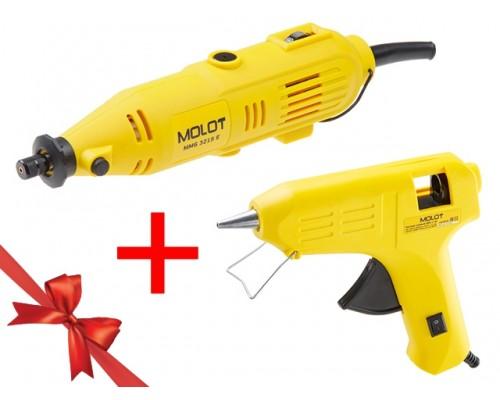 Гравер электрический MOLOT MMG 3215 E в чем.+ аксессуары +  АКЦИЯ! (клеевой пистолет MOLOT) (150 Вт, 8000 - 32500 об/мин, цанга 3.2 мм. клеевой пистол