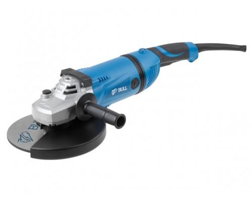 Двуручная углошлифмашина BULL WS 2302 в кор. (2200 Вт, диск 230х22 мм, пылезащита, поворотная рукоятка, фиксация кнопки, резиновый кабель 4 м)