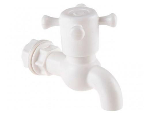 Кран пластиковый, водоразборный для рукомойников с резбой и штуцером (Симтек)